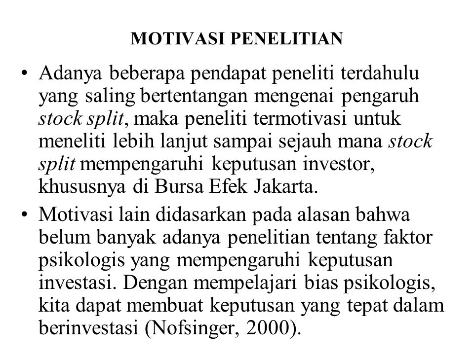 MOTIVASI PENELITIAN