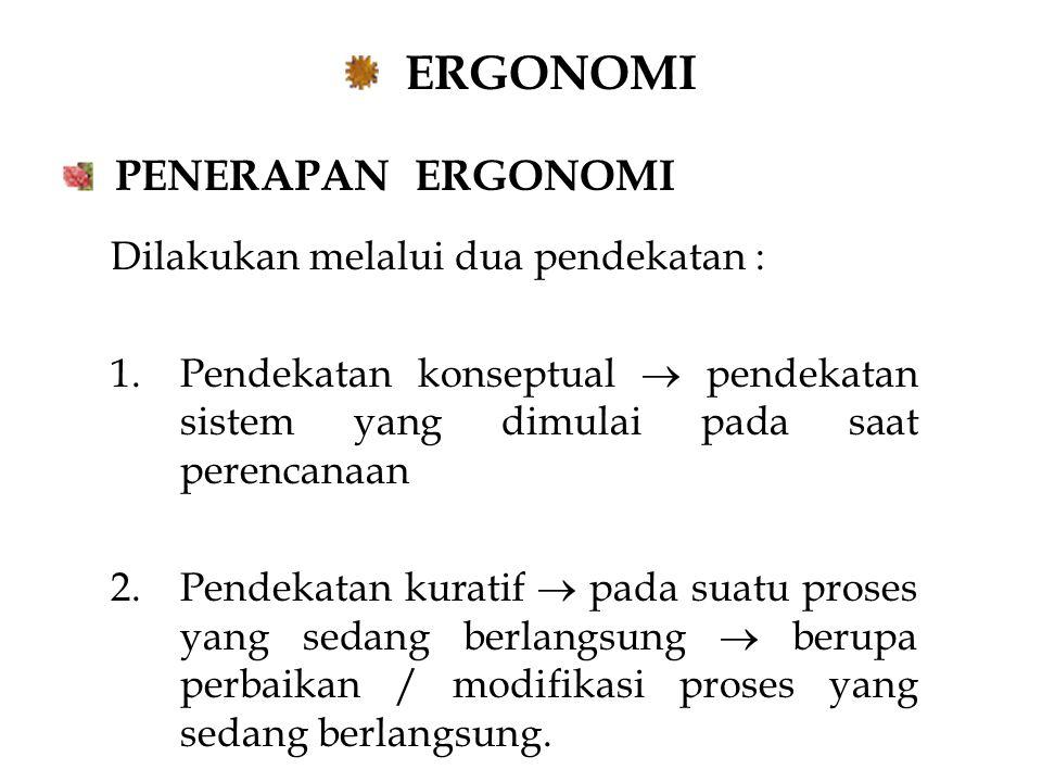 ERGONOMI PENERAPAN ERGONOMI Dilakukan melalui dua pendekatan :