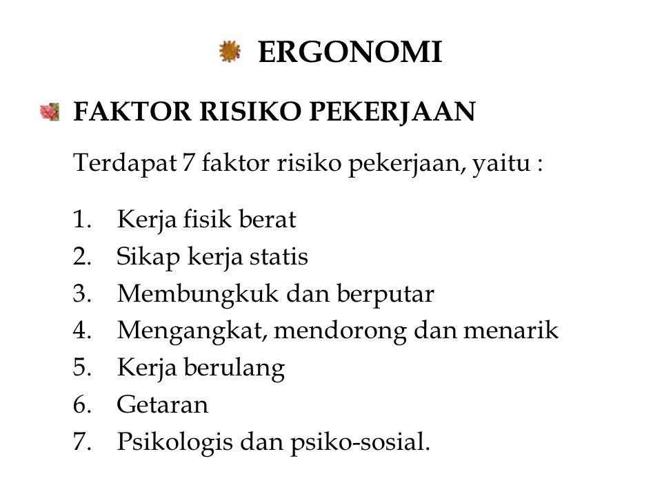 ERGONOMI FAKTOR RISIKO PEKERJAAN