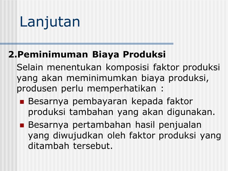 Lanjutan 2.Peminimuman Biaya Produksi