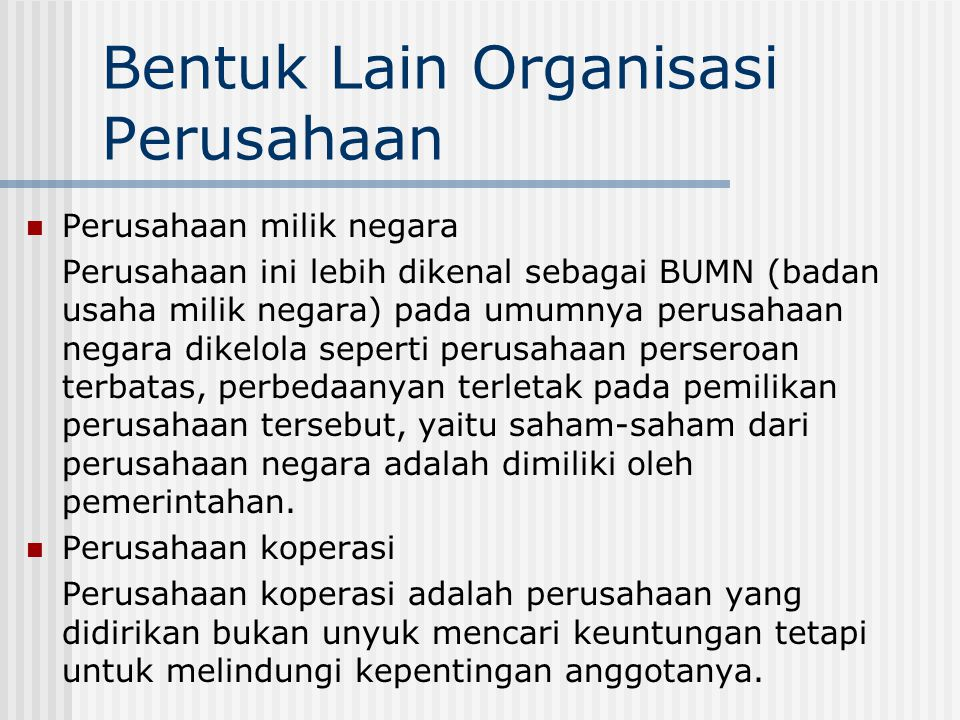 Bentuk Lain Organisasi Perusahaan