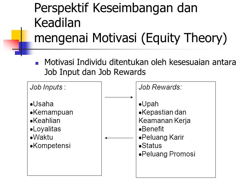Perspektif Keseimbangan dan Keadilan mengenai Motivasi (Equity Theory)