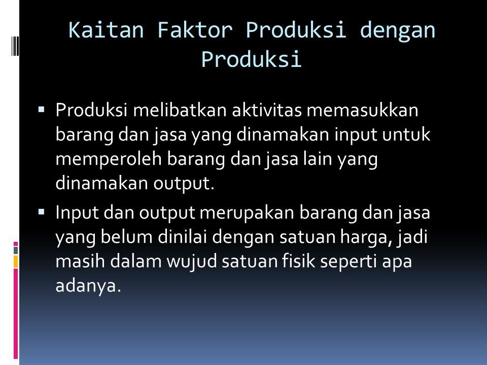 Kaitan Faktor Produksi dengan Produksi