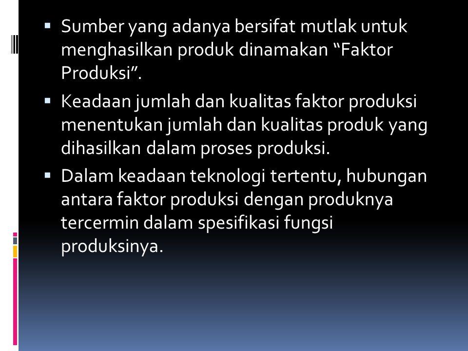 Sumber yang adanya bersifat mutlak untuk menghasilkan produk dinamakan Faktor Produksi .