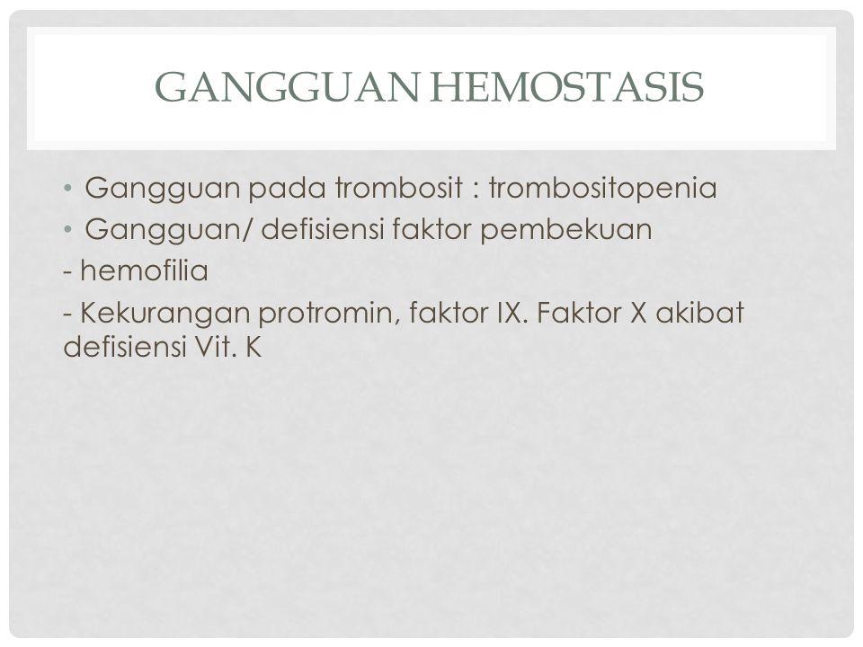 Gangguan hemostasis Gangguan pada trombosit : trombositopenia