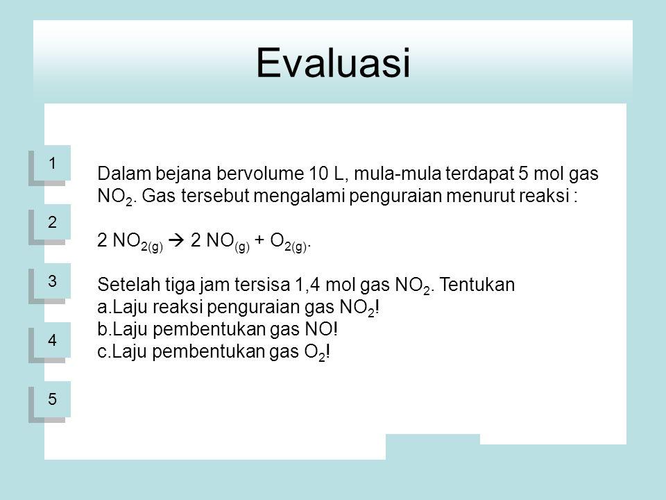 Evaluasi 1. Dalam bejana bervolume 10 L, mula-mula terdapat 5 mol gas NO2. Gas tersebut mengalami penguraian menurut reaksi :