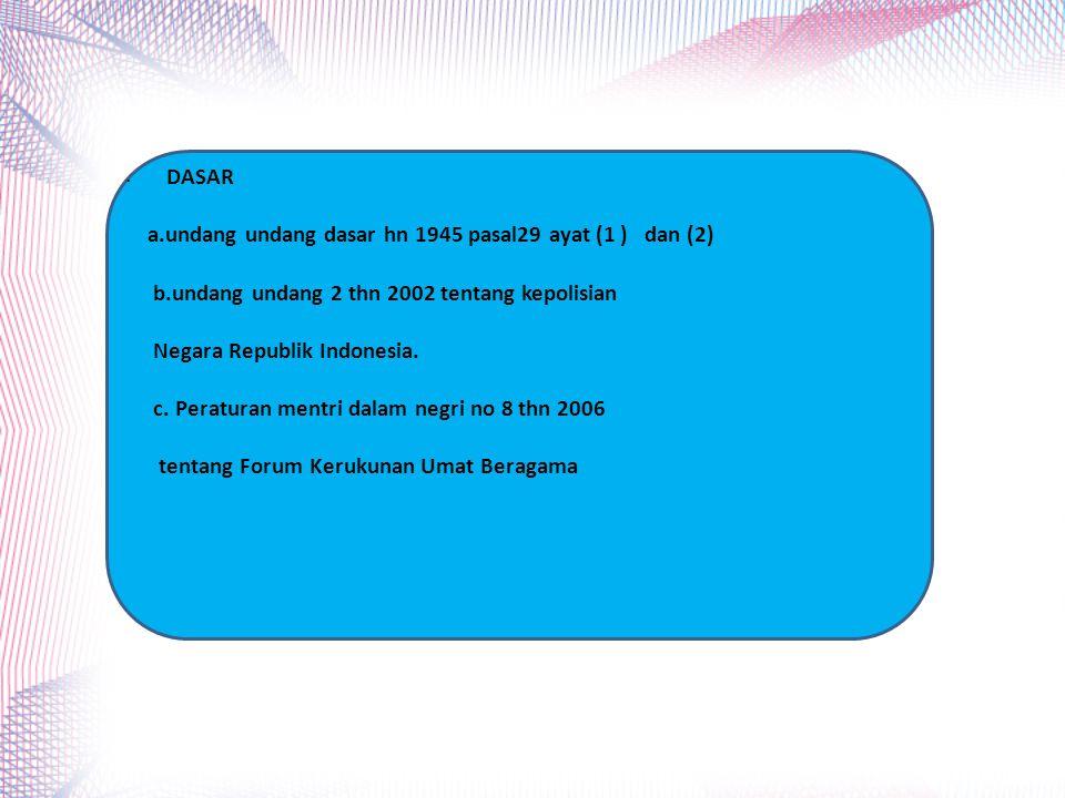 DASAR a.undang undang dasar hn 1945 pasal29 ayat (1 ) dan (2) b.undang undang 2 thn 2002 tentang kepolisian.