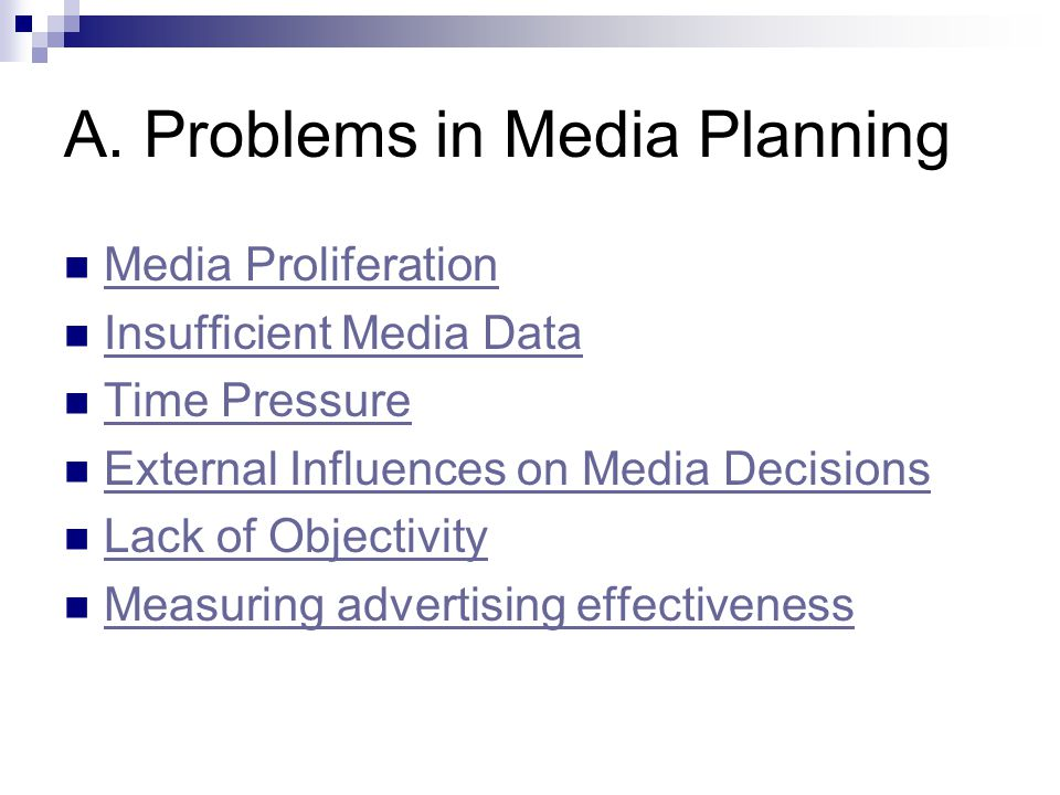 A. Problems in Media Planning