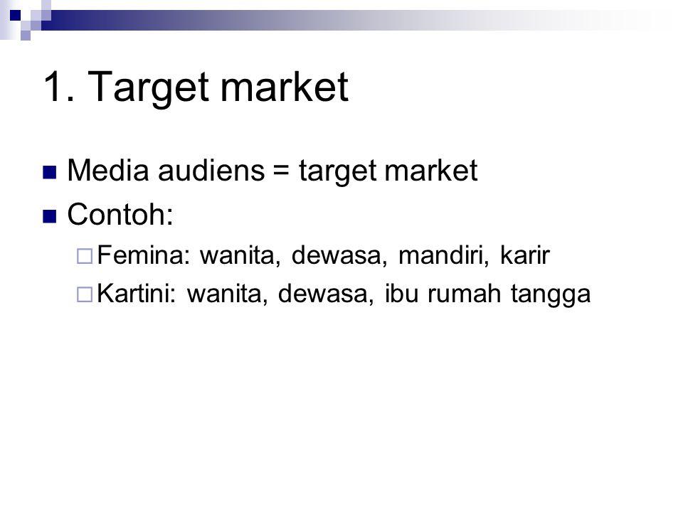1. Target market Media audiens = target market Contoh: