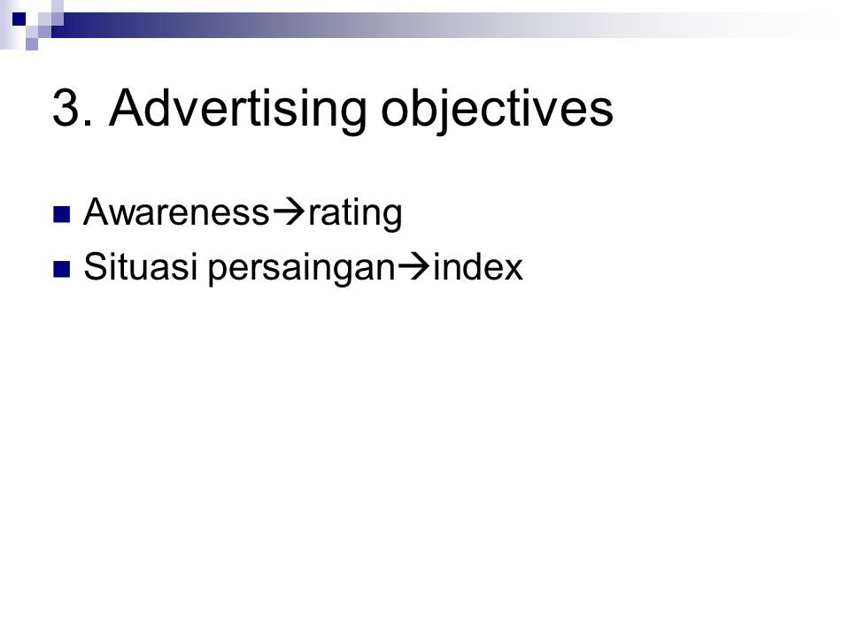 3. Advertising objectives