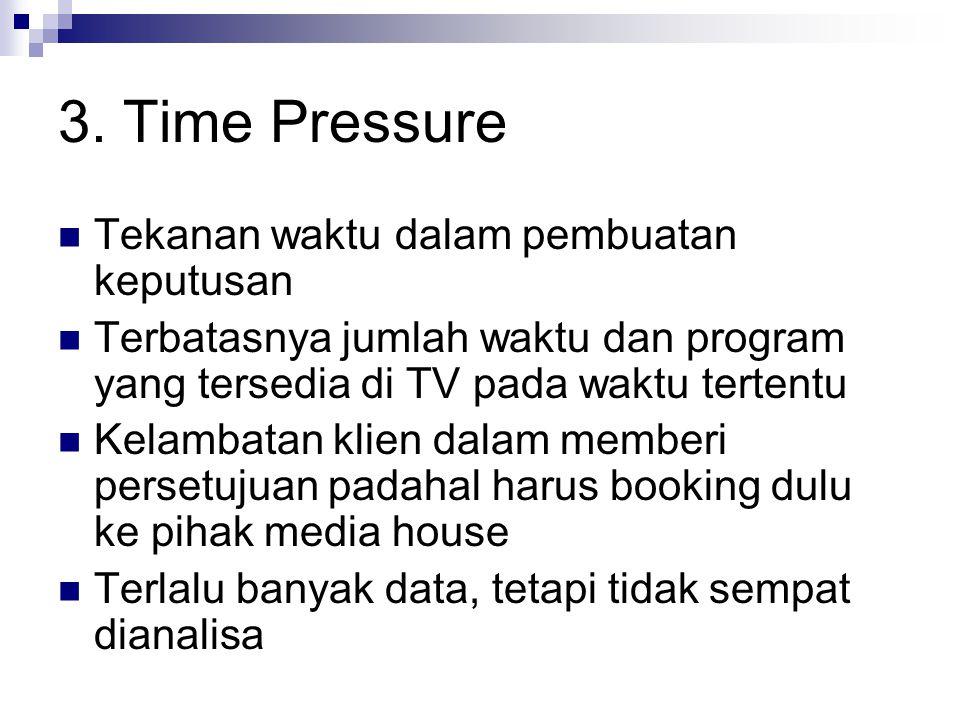 3. Time Pressure Tekanan waktu dalam pembuatan keputusan