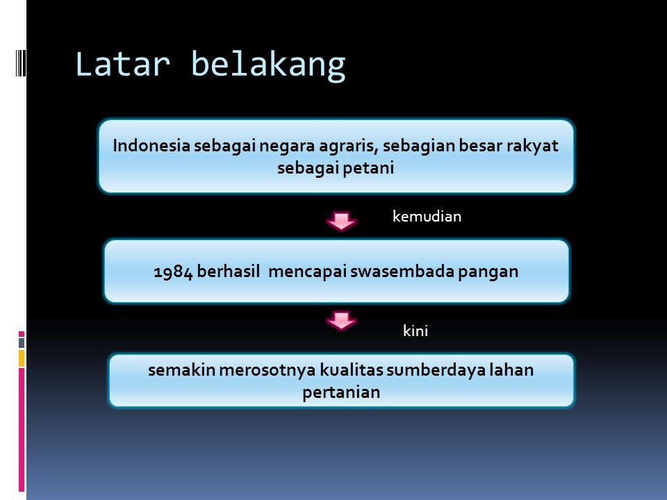 Latar belakang Indonesia sebagai negara agraris, sebagian besar rakyat sebagai petani. kemudian. 1984 berhasil mencapai swasembada pangan.