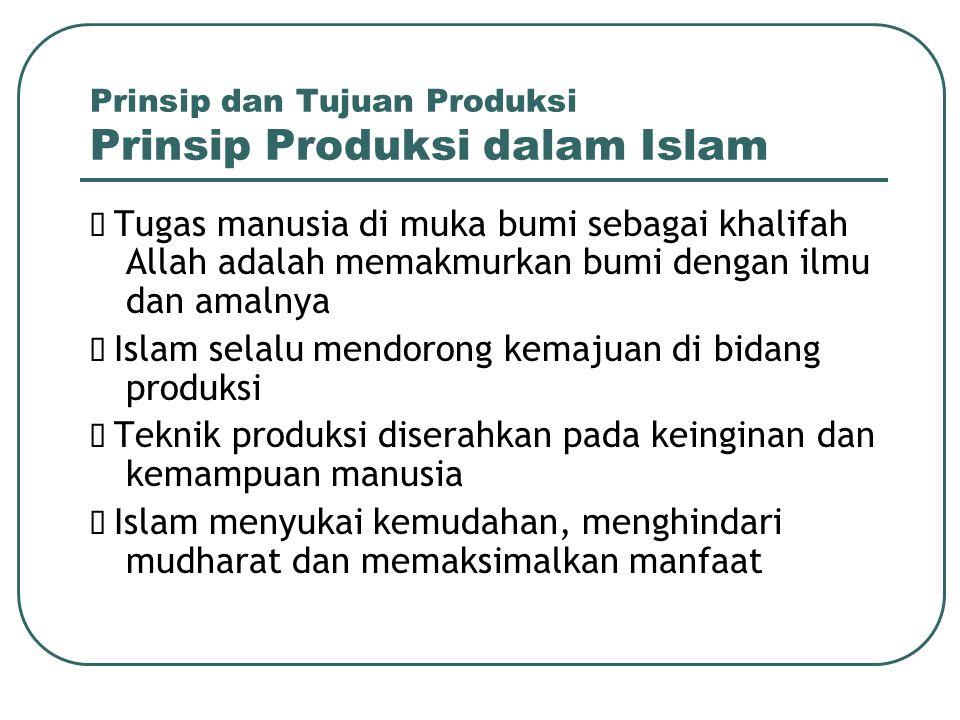 Prinsip dan Tujuan Produksi Prinsip Produksi dalam Islam