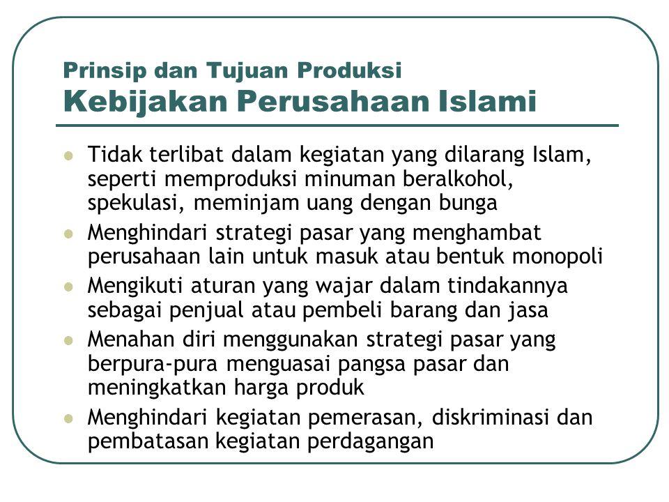 Prinsip dan Tujuan Produksi Kebijakan Perusahaan Islami