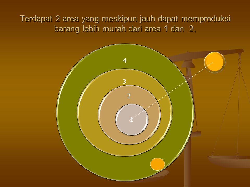 Terdapat 2 area yang meskipun jauh dapat memproduksi barang lebih murah dari area 1 dan 2,