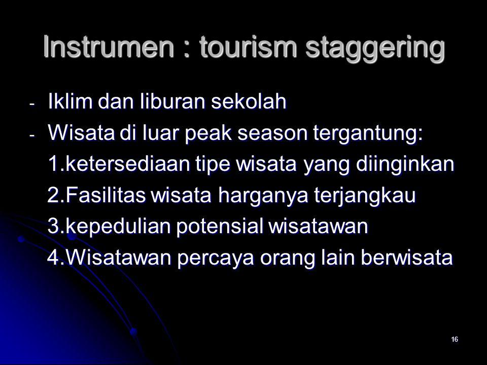 Instrumen : tourism staggering
