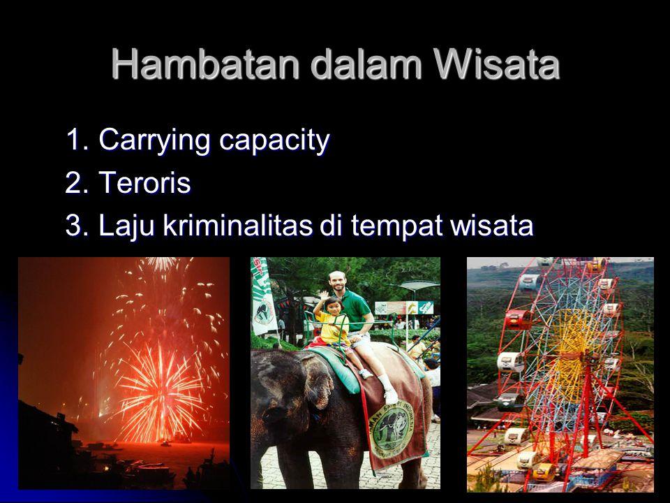 Hambatan dalam Wisata 1. Carrying capacity 2. Teroris