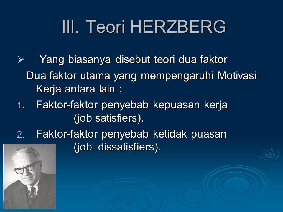 III. Teori HERZBERG Yang biasanya disebut teori dua faktor