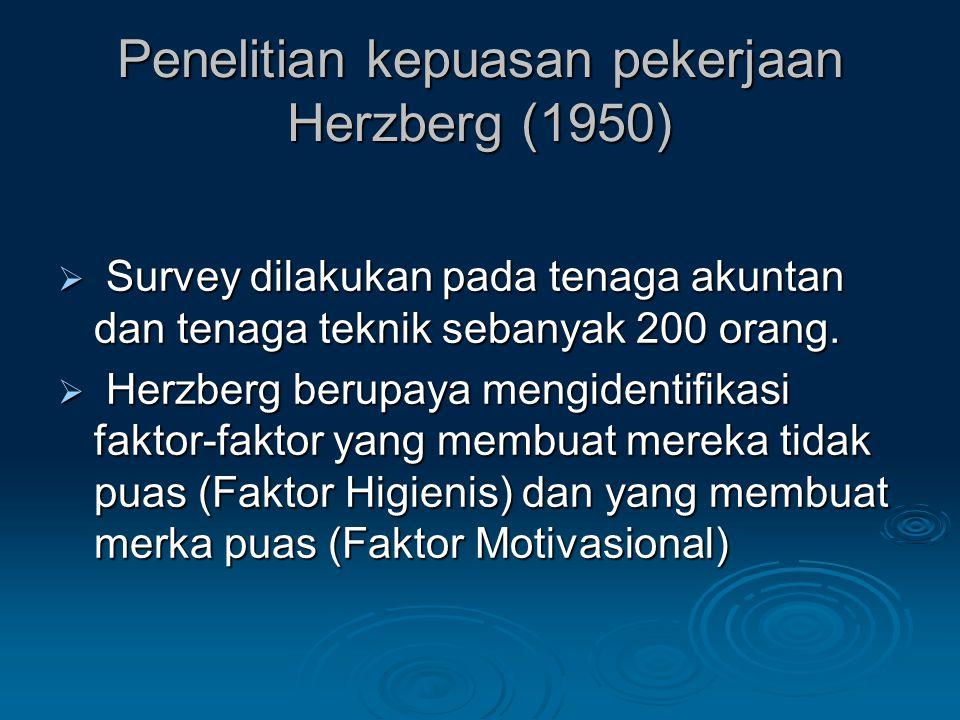 Penelitian kepuasan pekerjaan Herzberg (1950)