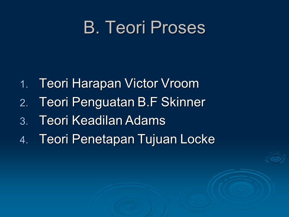 B. Teori Proses Teori Harapan Victor Vroom Teori Penguatan B.F Skinner