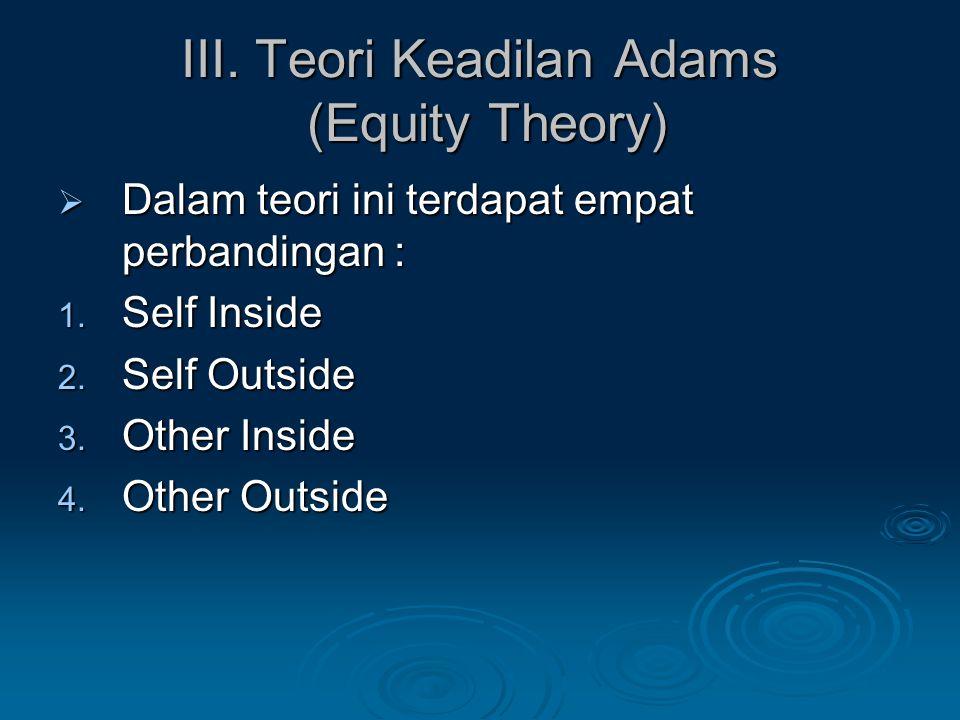 III. Teori Keadilan Adams (Equity Theory)