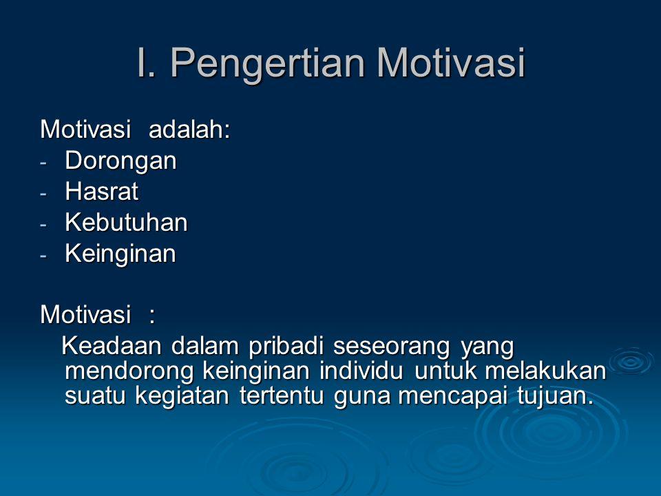 I. Pengertian Motivasi Motivasi adalah: Dorongan Hasrat Kebutuhan