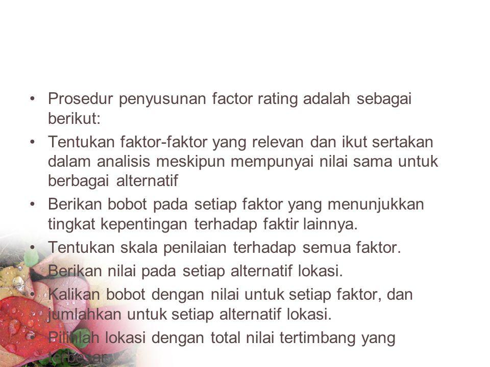Prosedur penyusunan factor rating adalah sebagai berikut: