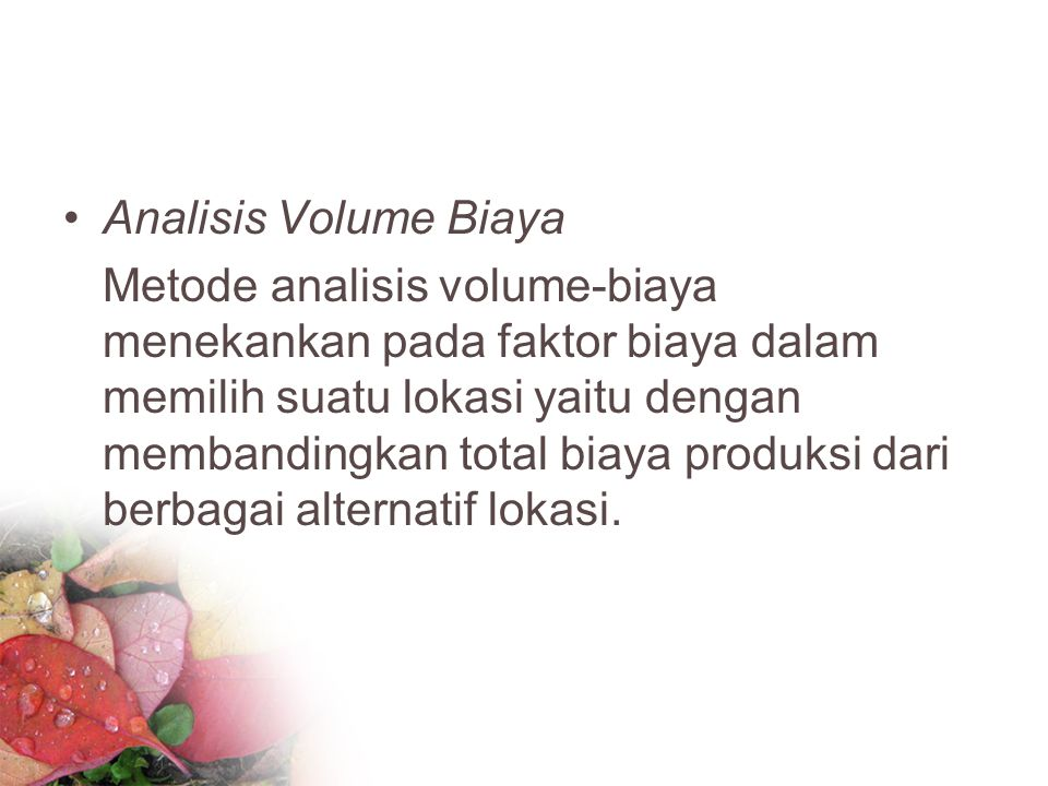 Analisis Volume Biaya