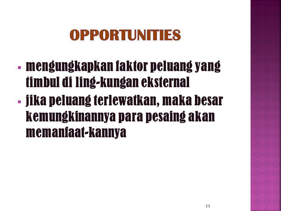 Opportunities mengungkapkan faktor peluang yang timbul di ling-kungan eksternal.