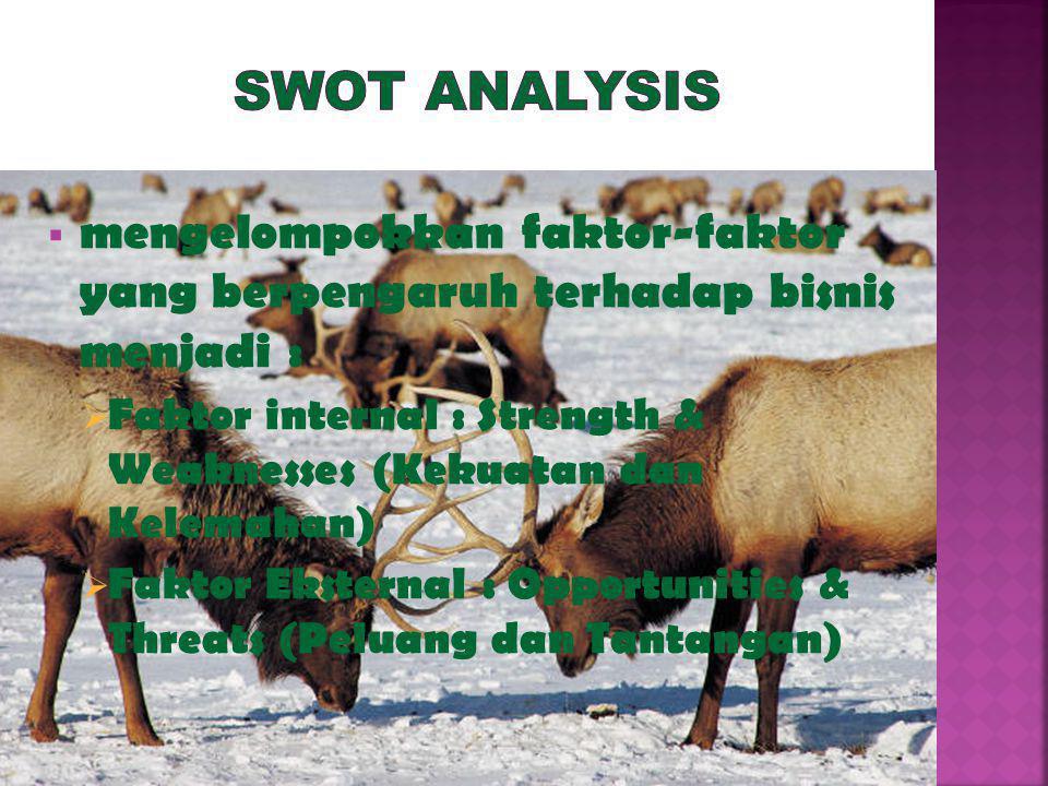 SWOT Analysis mengelompokkan faktor-faktor yang berpengaruh terhadap bisnis menjadi :