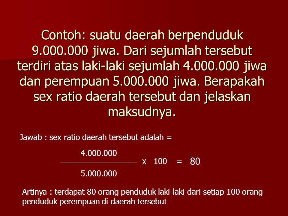 Contoh: suatu daerah berpenduduk 9. 000. 000 jiwa