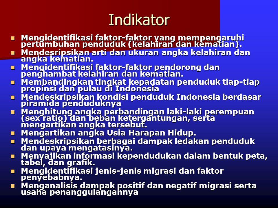Indikator Mengidentifikasi faktor-faktor yang mempengaruhi pertumbuhan penduduk (kelahiran dan kematian).