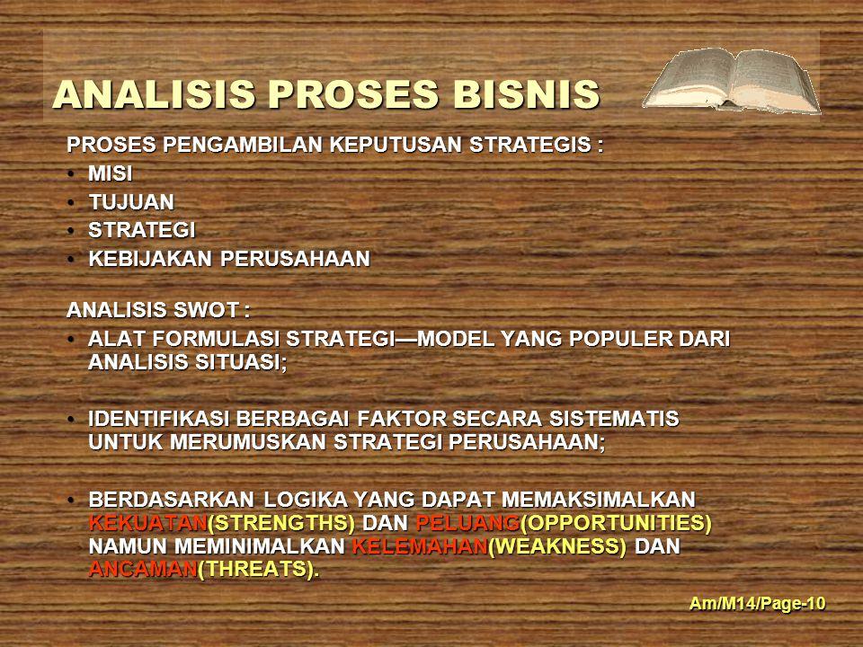 PROSES PENGAMBILAN KEPUTUSAN STRATEGIS :