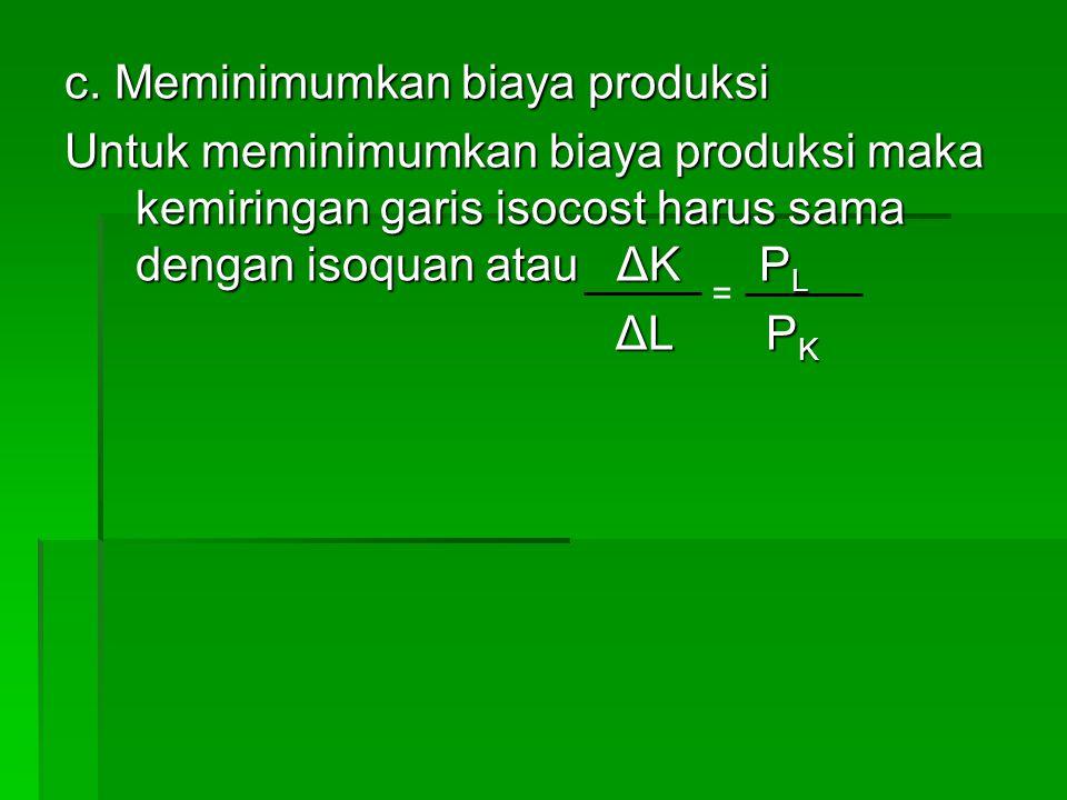 c. Meminimumkan biaya produksi