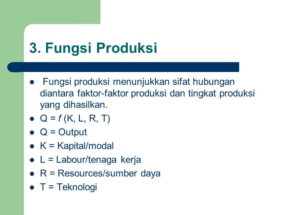 3. Fungsi Produksi Fungsi produksi menunjukkan sifat hubungan diantara faktor-faktor produksi dan tingkat produksi yang dihasilkan.