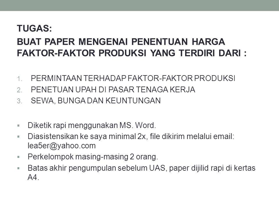 TUGAS: BUAT PAPER MENGENAI PENENTUAN HARGA FAKTOR-FAKTOR PRODUKSI YANG TERDIRI DARI : PERMINTAAN TERHADAP FAKTOR-FAKTOR PRODUKSI.