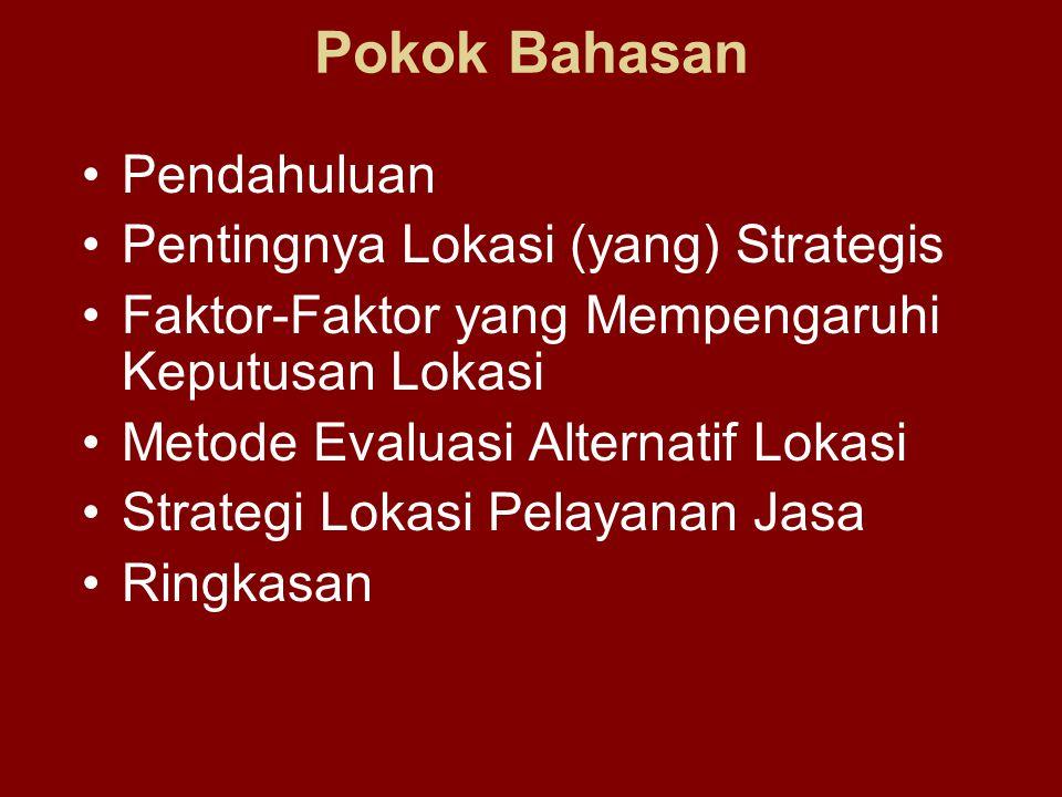 Pokok Bahasan Pendahuluan Pentingnya Lokasi (yang) Strategis