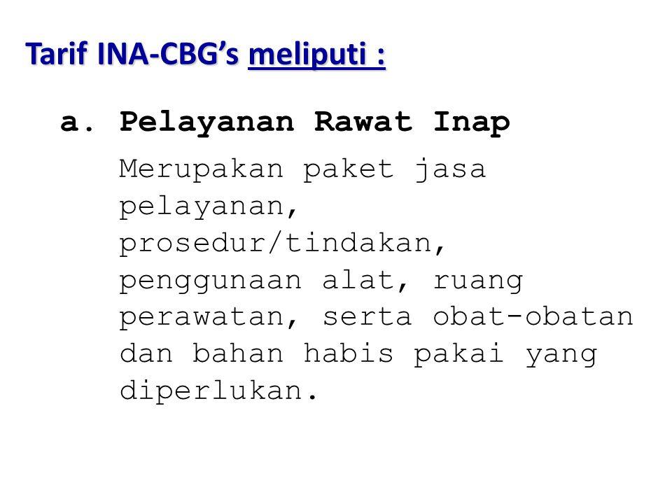 Tarif INA-CBG's meliputi :