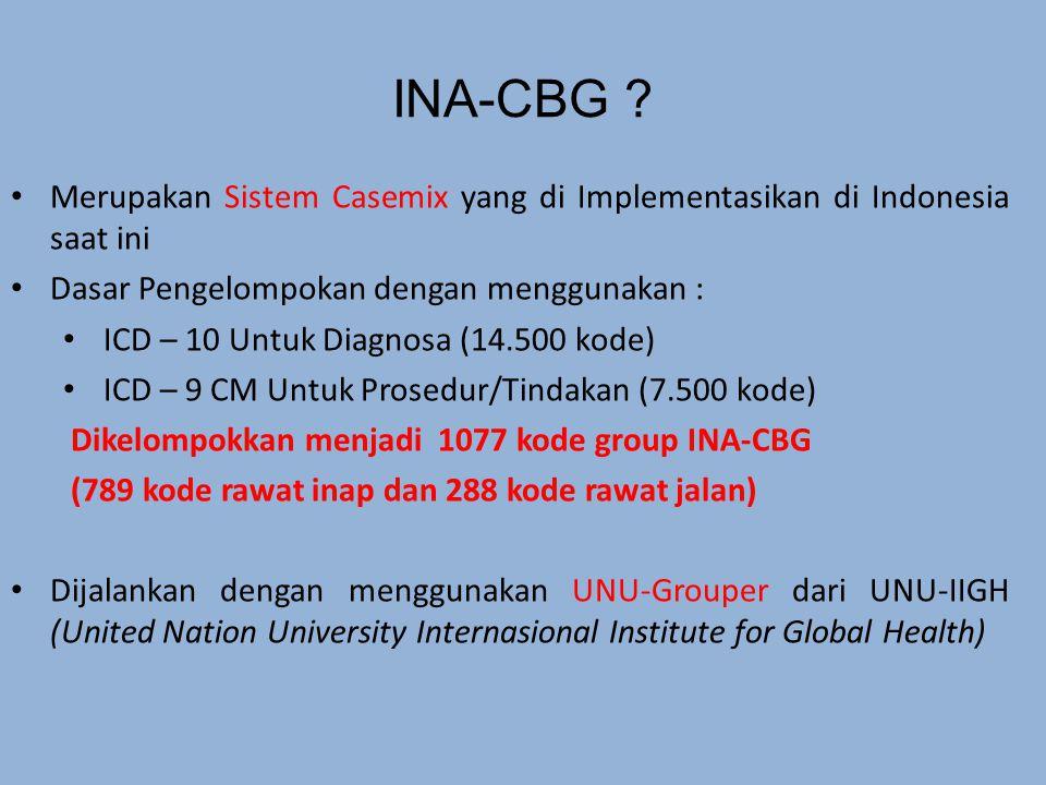 INA-CBG Merupakan Sistem Casemix yang di Implementasikan di Indonesia saat ini. Dasar Pengelompokan dengan menggunakan :