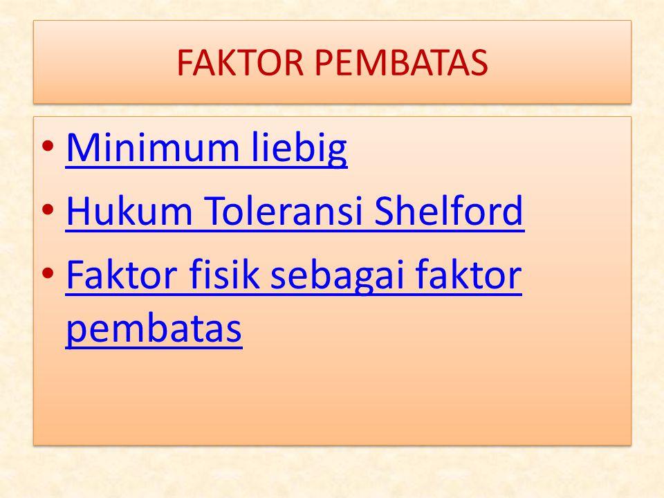 Hukum Toleransi Shelford Faktor fisik sebagai faktor pembatas