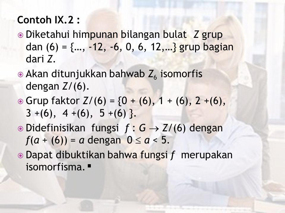 Contoh IX.2 : Diketahui himpunan bilangan bulat Z grup dan (6) = {…, -12, -6, 0, 6, 12,…} grup bagian dari Z.