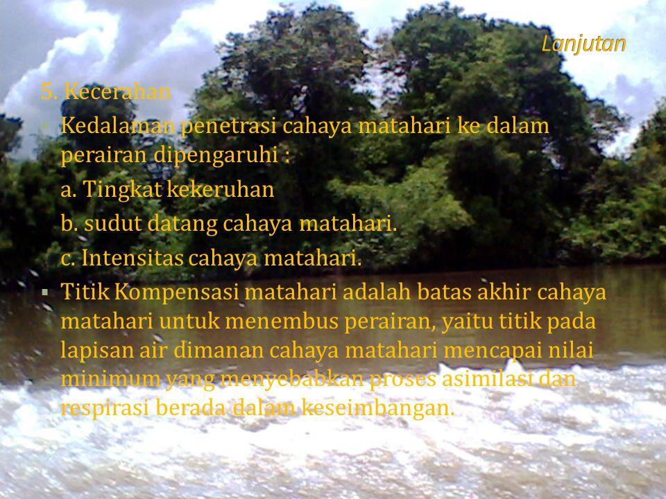 Lanjutan 5. Kecerahan. Kedalaman penetrasi cahaya matahari ke dalam perairan dipengaruhi : a. Tingkat kekeruhan.