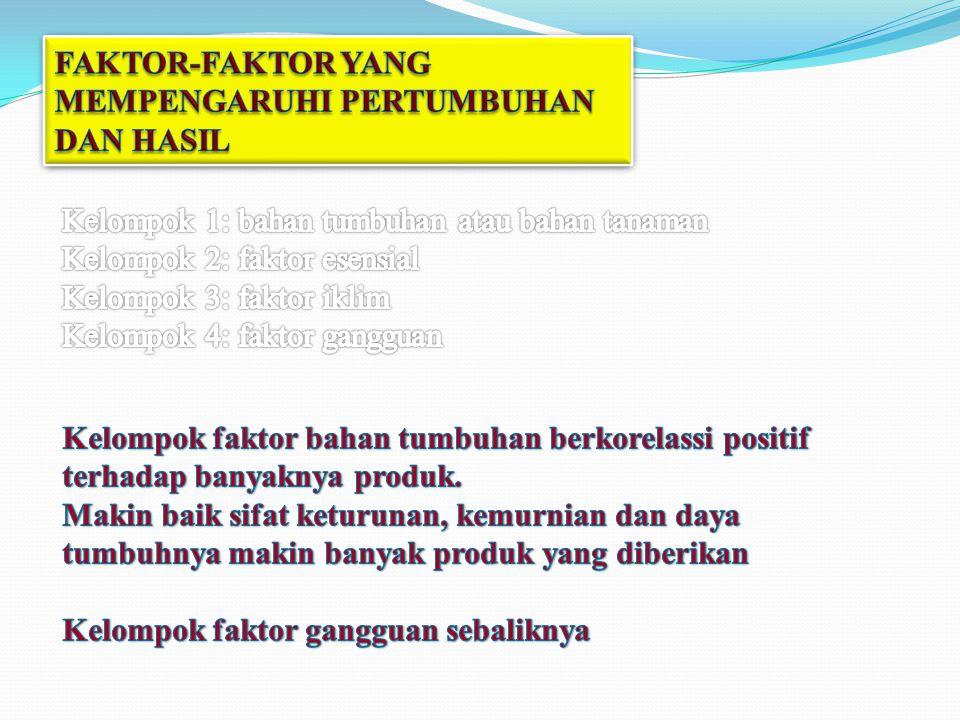 FAKTOR-FAKTOR YANG MEMPENGARUHI PERTUMBUHAN DAN HASIL