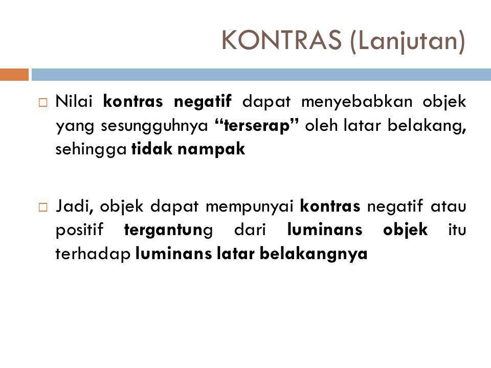 KONTRAS (Lanjutan) Nilai kontras negatif dapat menyebabkan objek yang sesungguhnya terserap oleh latar belakang, sehingga tidak nampak.