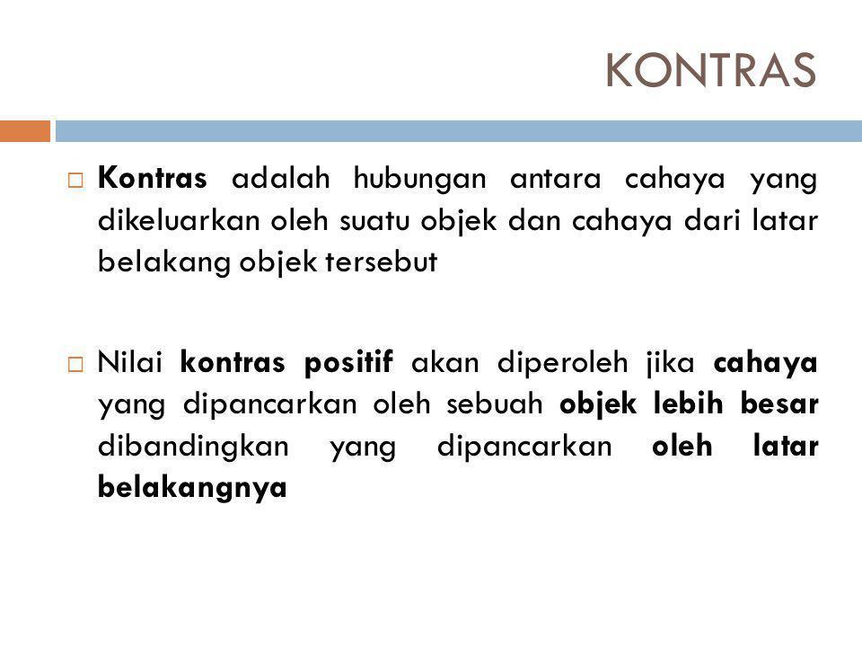 KONTRAS Kontras adalah hubungan antara cahaya yang dikeluarkan oleh suatu objek dan cahaya dari latar belakang objek tersebut.