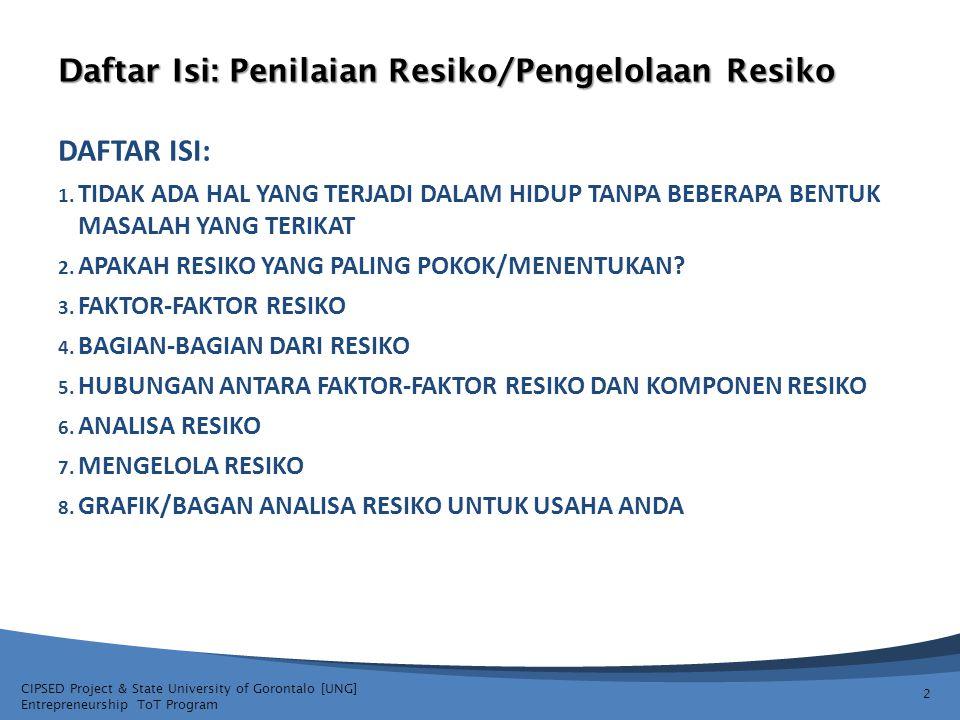 Daftar Isi: Penilaian Resiko/Pengelolaan Resiko