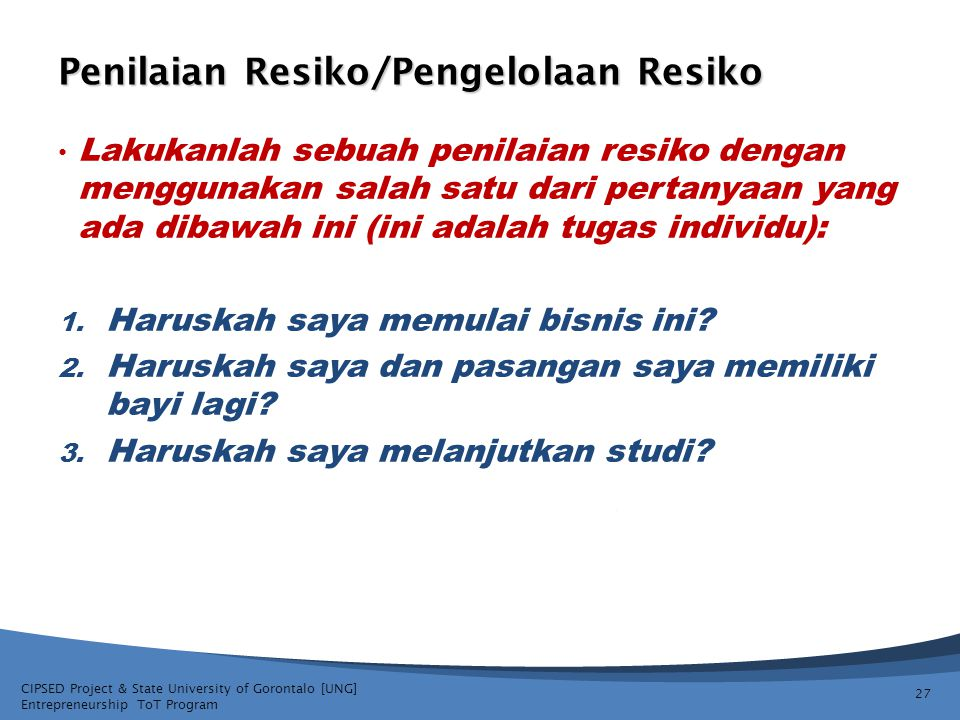 Penilaian Resiko/Pengelolaan Resiko