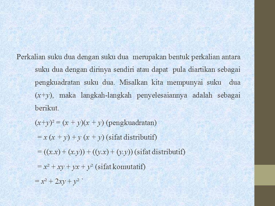 Perkalian suku dua dengan suku dua merupakan bentuk perkalian antara suku dua dengan dirinya sendiri atau dapat pula diartikan sebagai pengkuadratan suku dua.