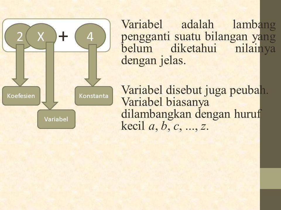 + Variabel adalah lambang pengganti suatu bilangan yang belum diketahui nilainya dengan jelas.