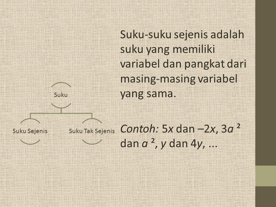Contoh: 5x dan –2x, 3a ² dan a ², y dan 4y, ...
